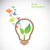 Vector bulb and birds and leaves. eco concept — Stock Vector