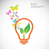 Vector bulb and orange butterflies and leaves. eco concept — Stock Vector