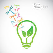 Vector bulb and dragonfly and leaves. eco concept — Stock Vector