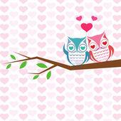猫头鹰在树枝上的几个矢量背景. — 图库矢量图片