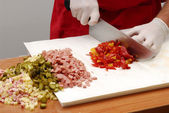 Preparing rice salad on a table. — Stock Photo