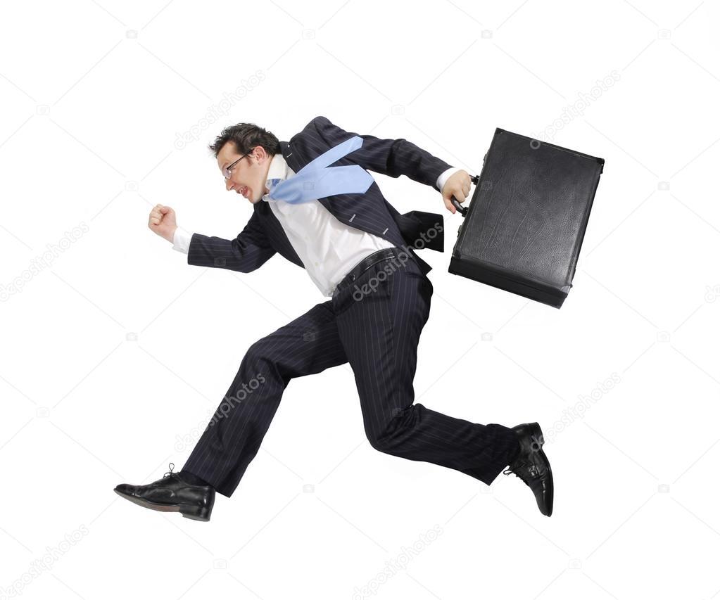 businessman running on white background � stock photo