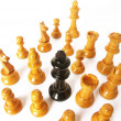 Chess game over wood chart. Queen cornered. — Foto Stock