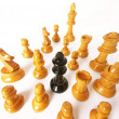 Chess game over wood chart. Queen cornered. — Stockfoto #13772825