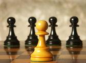 Chess man over business chart admonish to strategic behavior — Stock Photo