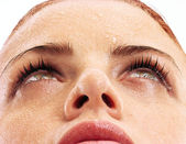 美しい女性のクローズ アップの肖像画 — ストック写真