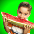 Funny and happy little boy eating watermelon. — Stock Photo