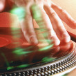 Detail of a disc jockey hands. — Stock Photo #13789241