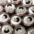 Closeup of soda or pop cans — Stock Photo
