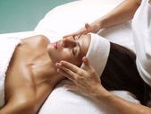 Latin woman spa. — Stock Photo