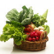 Assorted fresh vegetable basket on white background — Stock Photo