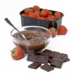 Chocolate cream and strawberries — Stock Photo