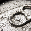 Closeup of soda or pop can with drops of water for freshness — Foto de Stock