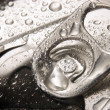 Closeup of soda or pop can with drops of water for freshness — Stock Photo #13850111