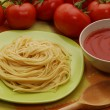 Creamed tomatoes sauce.Pasta tomato sauce and cheese — Stock Photo