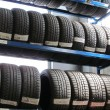 Stock Photo: The tire store in the garage