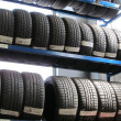 The tire store in the garage - Stock Photo