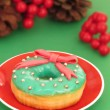 Christmas dough nuts on a party table. donut — Stock Photo