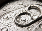 Closeup of soda or pop can with drops of water for freshness — Stock Photo