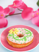 Love day dough nuts and flowers — Stock Photo