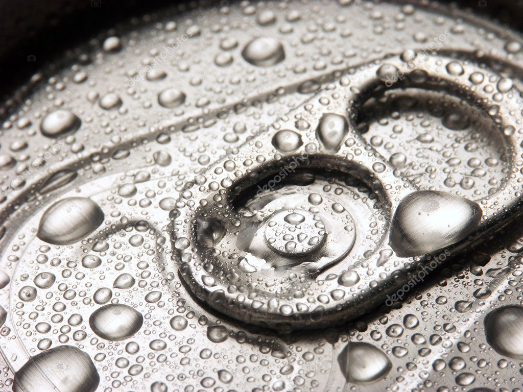 Closeup of soda or pop can with drops of water for freshness  Stock Photo #13850092