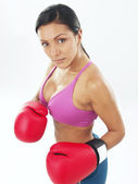 Boxing gloves woman portrait on white background. — Stock Photo
