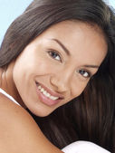 Beautiful young latin woman on white background — Stock Photo
