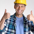 Young and happy construction worker portrait — Stock Photo
