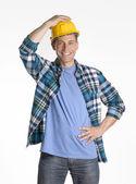 Optimistic construction worker on white background. — Stock Photo