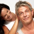Adult hispanic couple joying together — Stock Photo