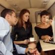 Business working at private jet — Stock Photo #14608583