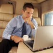 Business man working at private jet. — Stock Photo #14625831