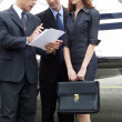 Stock Photo: Business working at private jet.