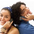 Stock Photo: Young couple using mobile phone.