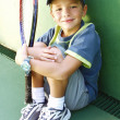 Foto de Stock  : Little kid tennis portrait.