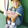 Stock Photo: Little kid tennis portrait.