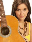 Woman guitar portrait. — Stock Photo