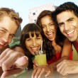 Hispanic friends enjoying together. — Stock Photo