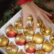 New Year and Christmas decoration in the box - Stock Photo