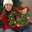 Beautiful young woman with Christmas tree,Decorating Christmas tree — Stock Photo