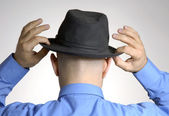 Back view from a bald man wearing a gentleman hat style. — Stock Photo