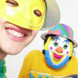Two funny carnival kids portrait — Stock Photo