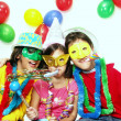 Three funny carnival kids portrait - 图库照片