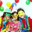 Stock Photo: Three funny carnival kids portrait