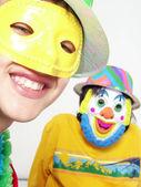 Retrato de crianças de dois carnaval engraçado — Foto Stock