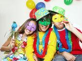 Three funny carnival kids portrait — Stock Photo