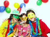 Three funny carnival kids portrait — Stock Photo