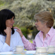 Two senior woman drinking tea outdoor - Foto Stock