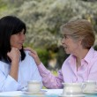 Two senior woman drinking tea outdoor - Stock Photo