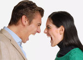 Anger young couple fighting and screaming.Shouting dispute — Stock Photo
